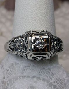 Gemstone Sterling Silver Garden Wedding Floral Filigree Ring {Made To Order}  #SilverEmbraceReproductions #Solitaire #any