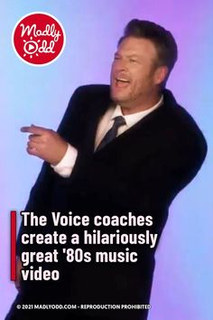 """In a two-hour special looking back on 20 seasons, The Voice coaches commemorated the show's tenth anniversary. Fans saw a funny video that had all four coaches singing in unison. In an '80s-style video, they sang Rick Astley's """"Together Forever."""" #funny #thevoice #TVShows #80s #RickAstley 80s Music, Good Music, The Voice Of Holland, Magic Hair Curlers, Rick Astley, Nbc Tv, Tenth Anniversary, 80s Style, Talent Show"""