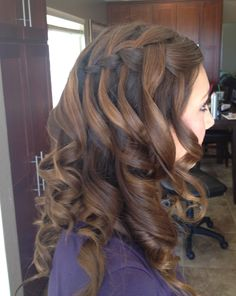 Waterfall braid with curls hair by Lisa Leming- www.lisaleming.com