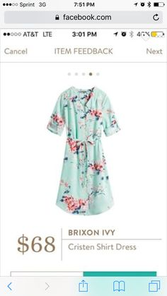 Brixon Ivy Cristen Shirt Dress. Could be cute if the waist hits me right. I like that it has sleeves, but is still light and springy.