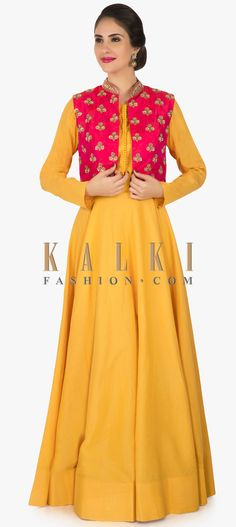 Yellow suit with rani pink jacket enhanced in cutdana and sequin butti work only on Kalki Jacket Style Kurti, Kurti With Jacket, Gown With Jacket, Pink Jacket, Indian Gowns Dresses, Indian Fashion Dresses, Indian Designer Outfits, Indian Outfits, Kids Blouse Designs