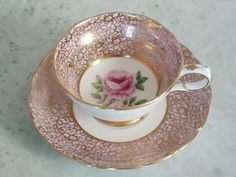 Gold Chintz and Pink Tea Cups and Saucers  by SwirlingOrange11, $49.00