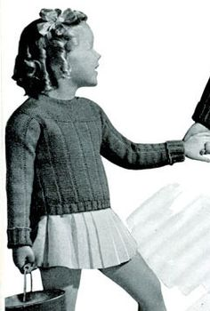 vintage knitting pattern: girl's pullover size 4-5