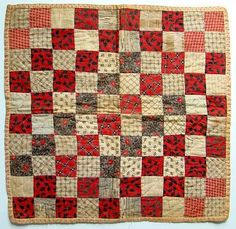 C1880 Doll Quilt. One Patch Design in Red and Black Calico - Handstitched.