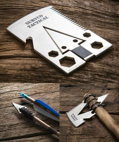 The Survco Credit Card Ax fits in your wallet and transforms into an Ax. Plus it has 20 other useful functions including a saw and a spear.
