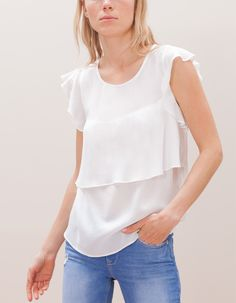 Layered top with frill detail, Stradivarius Serbia Layered Tops, No Frills, Blouses For Women, Layers, Detail, Lithuania, Clothes, Fashion, Racing Wheel