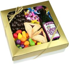 Happy Purim, Gold Lustre Purim Basket - http://mygourmetgifts.com/happy-purim-gold-lustre-purim-basket/