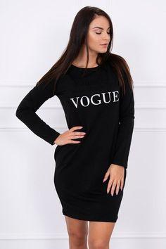Top kúsok s dlhým rukávom, športové šaty Vogue čierne s krásnym 3D nápisom Vogue, En Vogue