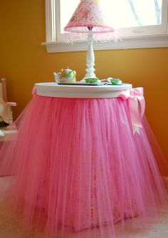 """Sooooo cute!! I've already done duck tape tables, so I think I'll find a tulle color to match and dress them up for my little girl's Big Girl room! The duck tape tables are more """"kid"""" proof than other tables any way."""
