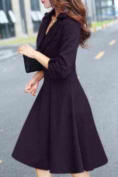 Stylish Lapel 3/4 Sleeve Solid Color Midi Dress For Women