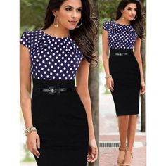 Purchase Women's Elegant Polka Dots Bodycon OL Pencil Dress Patchwork Pleated Neck Dress from Aofa on OpenSky. Vestidos Pin Up, Vestidos Sexy, Mini Vestidos, Pin Up Dresses, Sexy Dresses, Blue Dresses, Dresses For Work, Work Outfits, Formal Dresses