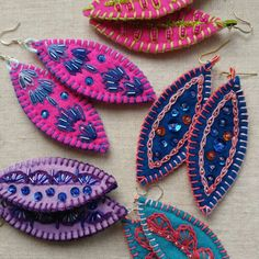 Finally got the rest of these earrings properly photographed! Now I just have to list them! bijouterie HammieAndAud shared a new photo on Etsy Textile Jewelry, Fabric Jewelry, Beaded Jewelry, Jewellery, Felt Embroidery, Embroidery Jewelry, Denim Earrings, Wire Earrings, Etsy Earrings