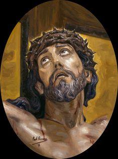 The Most Holy Christ of the Agony / Santísimo Cristo de la Agonía // 2016 // Raúl Berzosa // Obra realizada para el estandarte del Santísimo Cristo de la Agonía de Cieza (Murcia) // #Jesus #Crucifixion #Spain #cofrade #SemanaSanta #HolyWeek #devotional #tradition