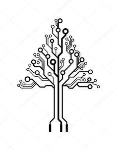Vector logo triangle circuit board tree by bygermina, via ShutterStock Web Design, Logo Design, Graphic Design, Stag Design, Circuit Tattoo, Hexagon Tattoo, Aztec Decor, Biomechanical Tattoo, Red Tattoos
