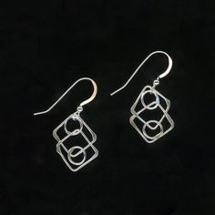 Metal Sterling Silver Earrings Metalwork Chain Link by WvWorks, $13.95