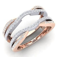 050 Carat ctw 10K White  Rose Gold Two Tone Diamond Wedding Band Guard Double Ring 12 CT Size 55 *** Check this awesome product by going to the link at the image.