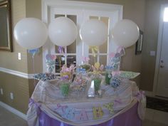 Baby Shower candy table...maybe for party favor grab bags?