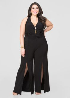 Front Slit Wide Leg Jumpsuit Front Slit Wide Leg Jumpsuit Wide Width Shoes 8c6a82b49