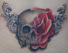 Skull and Rose Tattoo : loveeee this! Half and half ! Beautiful !