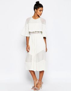 Image 1 ofASOS Pleated Sheer And Solid Crop Top Midi Dress