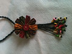 Fabric necklace with beads