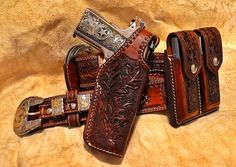 Colt 1911 - Custom made German Silver Special Ranger grips and Texas gun rig. Grips made by Rick Fras. 1911 Holster, Pistol Holster, Pancake Holster, Revolver, Custom Leather Holsters, Leather Working Patterns, Lever Action Rifles, Colt 1911, Ranger
