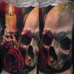 The amount of detail in this skull tattooed by Paul Acker is absolutely mind-boggling.