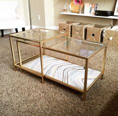 IKEA hack: DIY Vittsjö nesting tables. Gold spray paint and some marble paper.