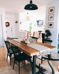 It is indeed a very happy Saturday over here because we can FINALLY use our dining table again! Black Dining Room Chairs, Boho Dining Room, Home, House Rooms, Dining Room Updates, Dining Room Design, Dining Room Decor, Apartment Decor, Home Deco