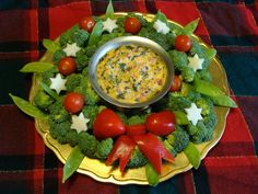 Appetizer - Holiday Vegetable Wreath With Creamy Salsa Dip Recipe from Indonesia Christmas Recipe Exchange