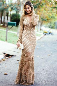 Вязаное ажурное платье в пол - свяжем похожее с учетом всех ваших пожеланий!