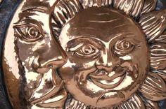 Decorative plate handmade in copper-Sun and by ilgarganello