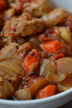 This Roasted Pork Tenderloin is slow cooked in a dutch oven. It combines browned pork tenderloin with onions, potatoes, carrots and fire roasted tomatoes. Oven Roasted Pork Tenderloin, Pork Roast In Oven, Slow Cooker Pork Tenderloin, Slow Cooked Pork, Roasted Pork Tenderloins, Baked Pork, Pork Tenderloin Recipes, Pork Recipes, Oven Recipes