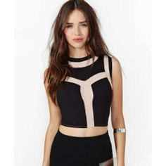 Night Heat Mesh Crop Top Black crop top with nude mesh insets and nude mesh back. Never worn. New condition. Nasty Gal Tops Crop Tops