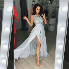 custom made elegant long chiffon lace split prom dress, 2020 evening party gowns on sale Split Prom Dresses, V Neck Prom Dresses, Prom Party Dresses, Bridal Dresses, Bridesmaid Dresses, Long Dresses, Wedding Gowns, Formal Dresses, Occasion Dresses