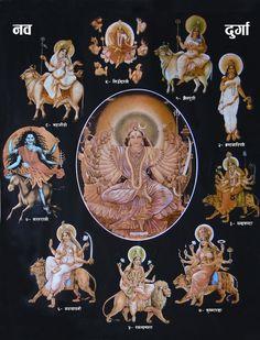 """""""Nav Durga, The Nine forms of Goddess Durga The 9 names of Maa Durga are: Maa Shailputri Maa Brahmacharini Maa Chandraghanta Maa Kushmanda Maa Katyayani Maa Kalratri Maa Siddhidatri Maa Skandmata Maa Mahagauri"""" Maa Durga Image, Durga Maa, Shiva Shakti, Indian Gods, Indian Art, Maa Durga Hd Wallpaper, Durga Images, Lord Shiva Family, Kali Goddess"""