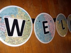 Back to School WELCOME Banner made from upcycled maps