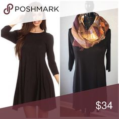 Little Black Dress Oh My Goodness Little Black Dress😍  I have 3 and you will want this classic wardrobe staple in your closet. You can wear with pantyhose, leggings and your favorite boots.   1 Small, 1 Medium and 1 Large  Material is 95% Rayon and 5% Spandex super soft and stretchy goodness. Dresses Midi