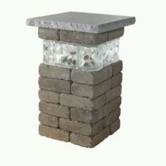 Necessories - 20 in. Bluestone Lakeland Pillar with Glass - Comes with everything needed to build, including pre-cut block sized to fit and adhesive. Builds in under one hour with two people. Easy to read instructions included.