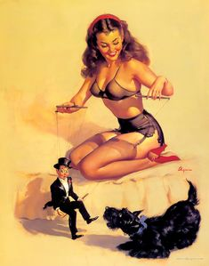 Pin-up-with-dog-and-puppet-gil-elvgren-theyre_easy_to_handle.jpg (1000×1271)