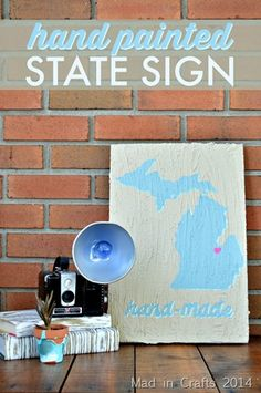 Hand Painted State foam Sign  - Mad in Crafts