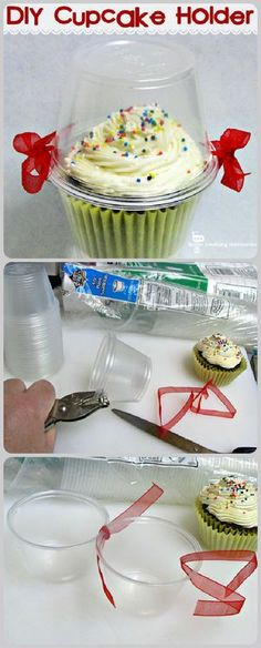 DIY Cupcake holder. Great way to travel with a cupcake. Also as a favor but dress up more with nicer ribbon/bow and add a personalized label on top. 4 oz plastic cups used.