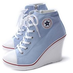 EpicStep Women's Canvas High Top Wedges High Heels Casual Fashion... (155 BRL) ❤ liked on Polyvore featuring shoes, sneakers, canvas wedge sneakers, high top shoes, canvas hi tops, hi tops and canvas sneakers