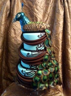 Peacock Wedding Cake This is a dummy. It is made from a dummy I did a simple cake out of for a brides sample.