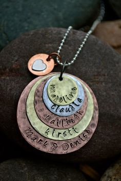 Family Metal Stamped Necklace by ArtisticSoles on Etsy, $40.00