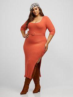 Rosabel Belted Sweater Maxi Dress - Fashion To Figure Plus Size Pullover, Plus Size Sweater Dress, Plus Size Sweaters, Sweater Dresses, Curvy Women Fashion, Plus Size Fashion, Belle Nana, Leather Shirt Dress, Sexy Maxi Dress