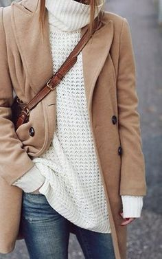 Camel coat, oversized knit, brown cross body bag, and denim
