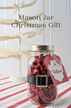 Mason Jar Christmas Gift idea and free printable gift tags