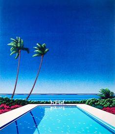 Chill Hop - Poolside (version vadi) : VaporwaveAesthetics New Retro Wave, Retro Waves, Summer Aesthetic, Blue Aesthetic, Abstract Portrait, A Whole New World, Beach Art, Pixel Art, Photo Art