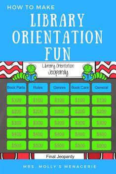 Making Library Orientation Fun School Library Lessons, School Library Displays, School Library Design, Library Lesson Plans, Elementary School Library, Library Skills, Elementary Library Decorations, Elementary Schools, Library Games